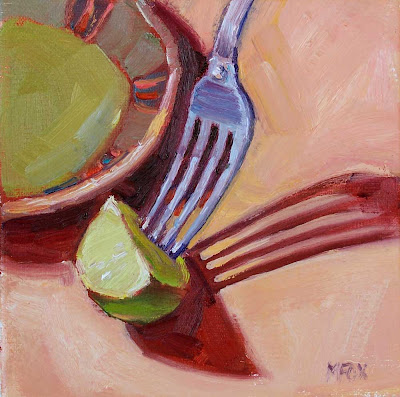 Lime & Fork: small square oil painting still life, daily art on canvas, 6 x 6