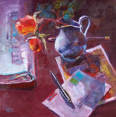 Red roses & Letters: square oil painting 12 x 12 flowers in cream pitcher, desk still life reds and blues Marie Fox