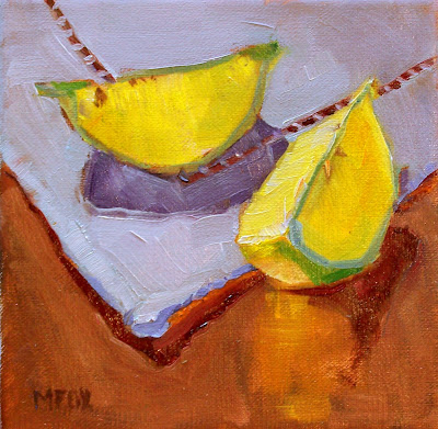 Lemon Slices on Napkin: fruit still life, kitchen art, lemons, wedges on linen napkin