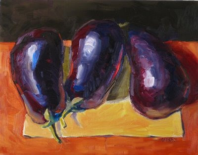 Three Eggplants: Colorful oil painting still life of garden vegetables