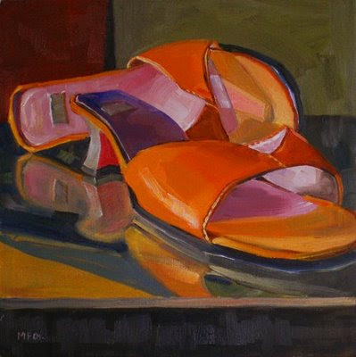 Red Shoes: still life square oil painting by daily artist, colorful Marie Fox