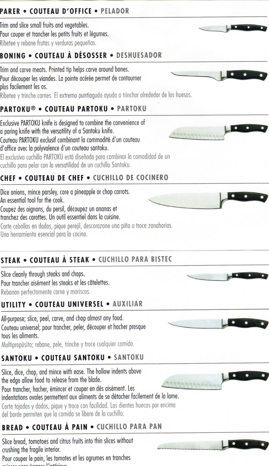 m j s elegant cuisine kitchen knife use guide