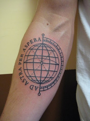globe tattoo for forehand · htc-tattoo.blogspot.com (view original image)