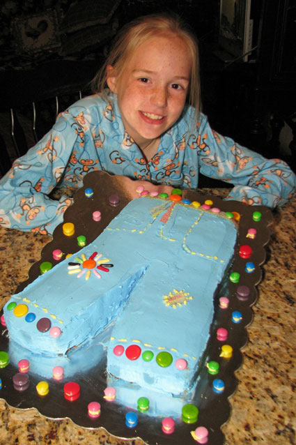 The cake boss and her latest creation a pair of blue jeans with candy