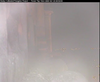 Before. Our nighttime camera gets its own infra red light flaring back badly -  rather like dricing in fog with headlights on