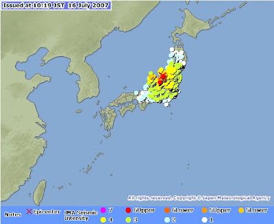 Earthquake Information Issued at 10:19 JST 16 Jul 2007