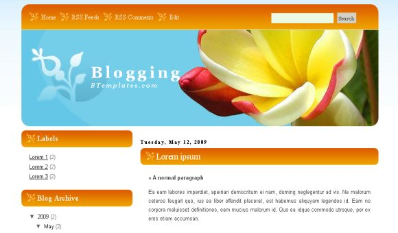 Free Blogger Nature Flowers Web2.0 Template