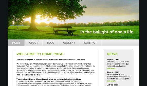 Free Twilight Green Nature Website Template