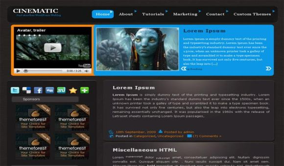 Cinema Movies Blue Free Wordpress Theme