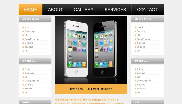 Mobiles Store Shop CSS Website Template