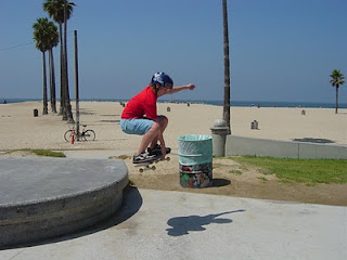 Aloha Beach Camp High Action campers skateboarding at Venice Beach