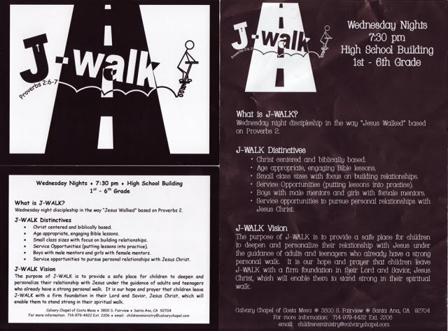 J Walk 7:30pm Wednesday Children's Ministry FREE