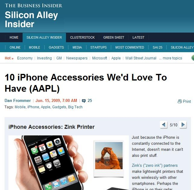 Jim Lyons Observations Zink printer for Apple iPhone  speculation? # Wasbak Zink_174951