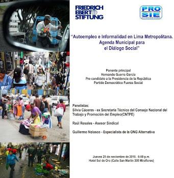 """Autoempleo e Informalidad  en Lima Metropolitana : Agenda Municipal para el diálogo social"","