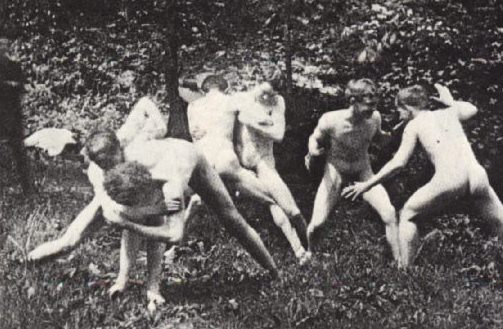 Eakin's art studens wrestling in the nude, 1883