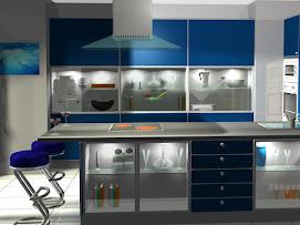 Cocina con atractivas vitrinas