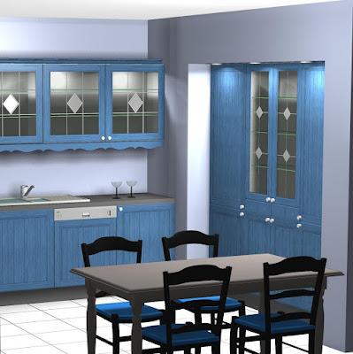Diseño muebles de cocina: Cocina rustica en color azul.