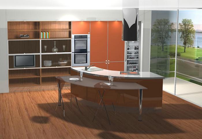Diseño de cocina en naranja y madera