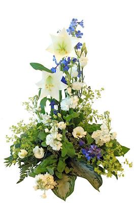 sorgdekoration vit blå lime