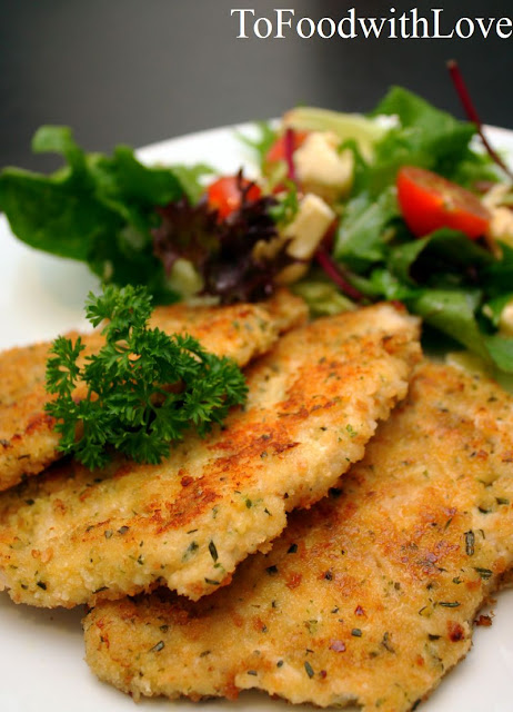 Parmesan & Herb Crusted Chicken Schnitzel with Crunchy Buttery Garlic ...