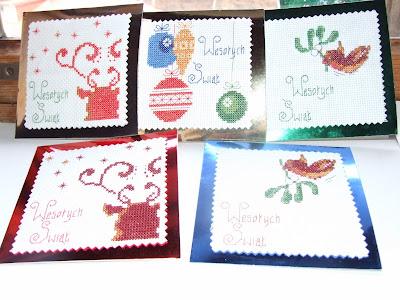 cros stitch christmas cards haft krzyżykowy kartki świąteczne