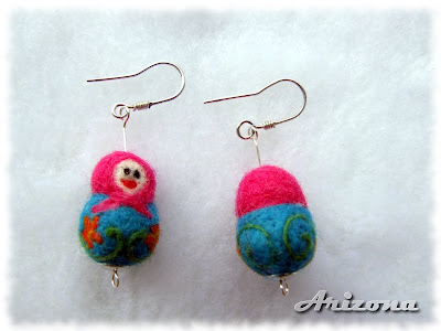 needle felted matrioshka earrings
