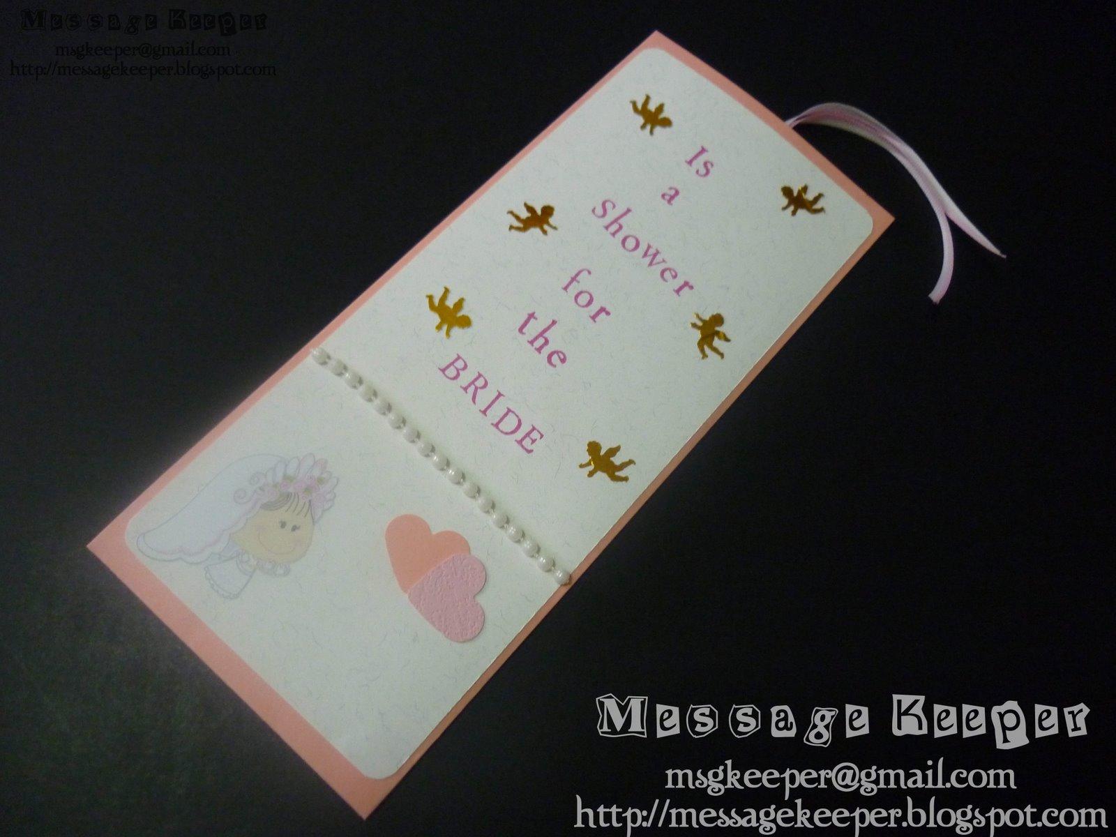 Bridal Shower Gift Card Message : Bridal Shower card #1Pocket envelope with inserted card