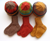 Baby folk art hats and matching socks