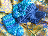 bootie-socks awaiting seams, with sarong