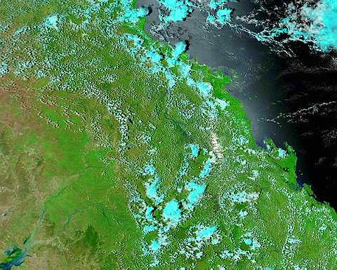 satellite shows the Fitzroy Basin before flooding started in Queensland