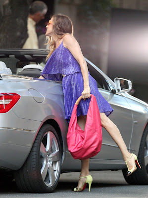 ... Christian Louboutin's Sylvia Drapey Hobo while filming Sex and the City ...