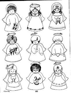 desenhar Anjos natalinos e palhaços e colorir