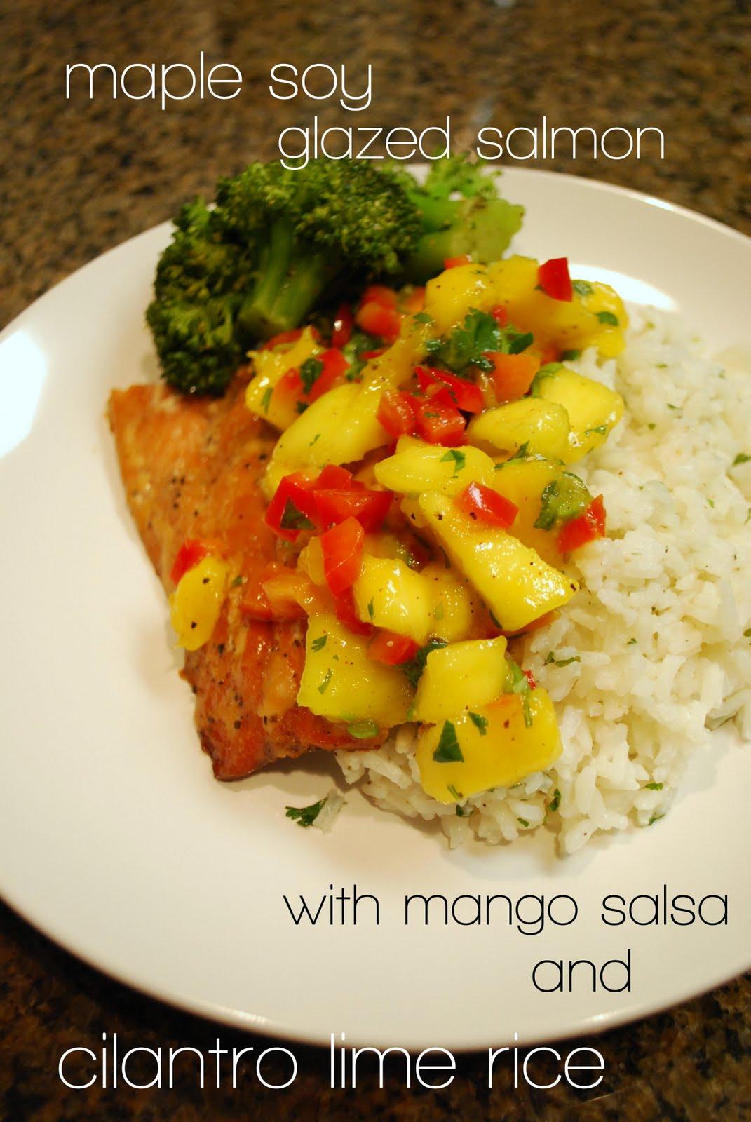 lizzy write: maple-soy glazed salmon with mango salsa