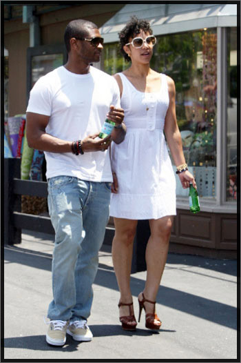 usher and wife.  usher and wife