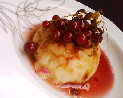 Articole culinare : Gris cu lapte cu sirop de cirese si coacaze