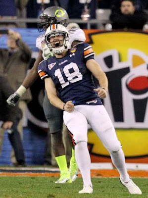 Wes Byrum reacts after kicking the winning field goal in Auburn's 22-19 victory over Oregon in the 2011 BCS National Championship game