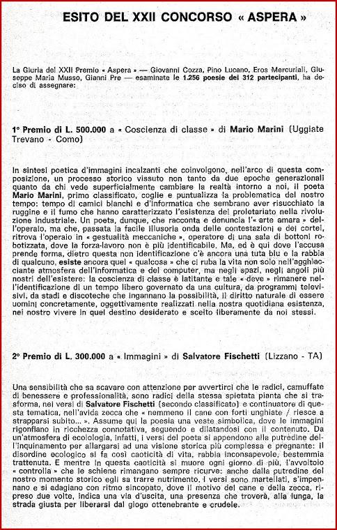"""Esito del XXII concorso """"Aspera""""."""