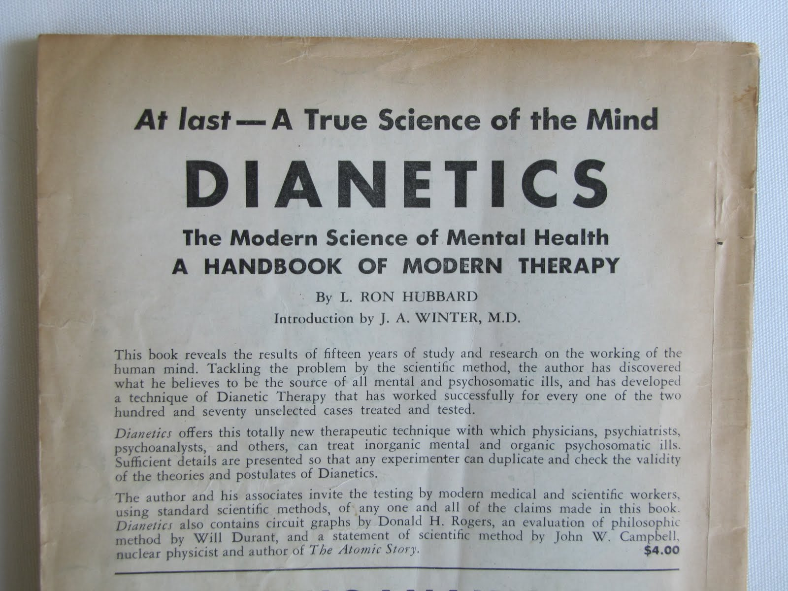 Back page advertisement for Dianetics.