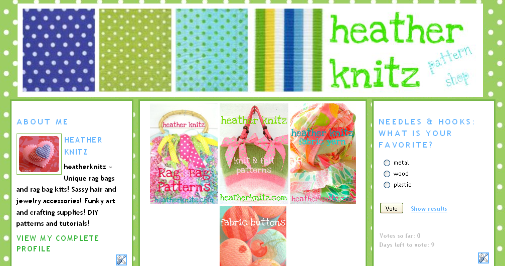My new blog, heatherknitz patterns!