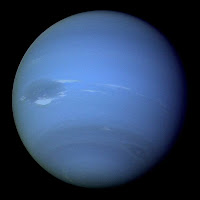 Voyager 2 Image of Neptune, emphasizing the 'Great Dark Spot'