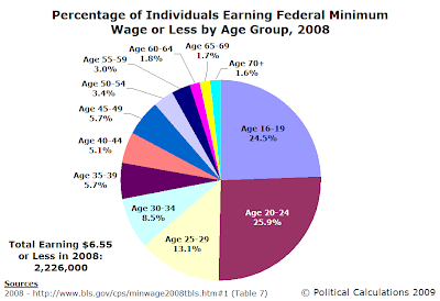 Percentage of Individuals Earning the Federal Minimum Wage or Less by Age Group, 2008