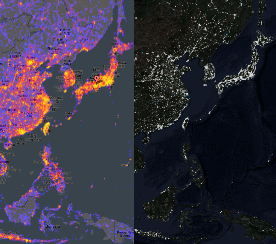 East Asia Touristiness Map vs Satellite Imagery at Night Map