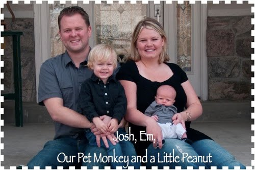 Josh, Em, our pet Monkey and a little Peanut