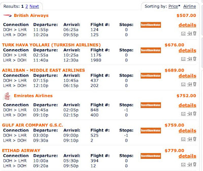Selection of prices from Travel Grove flight search.