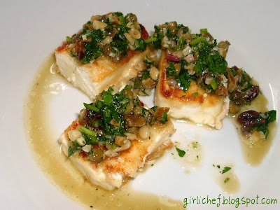 Sauteed Feta Cheese w/ Parsley, Raisin, Caper and Pinenut Sauce
