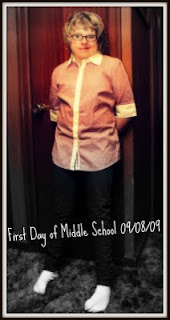 Kennedy's first day of middle school, September 8, 2009