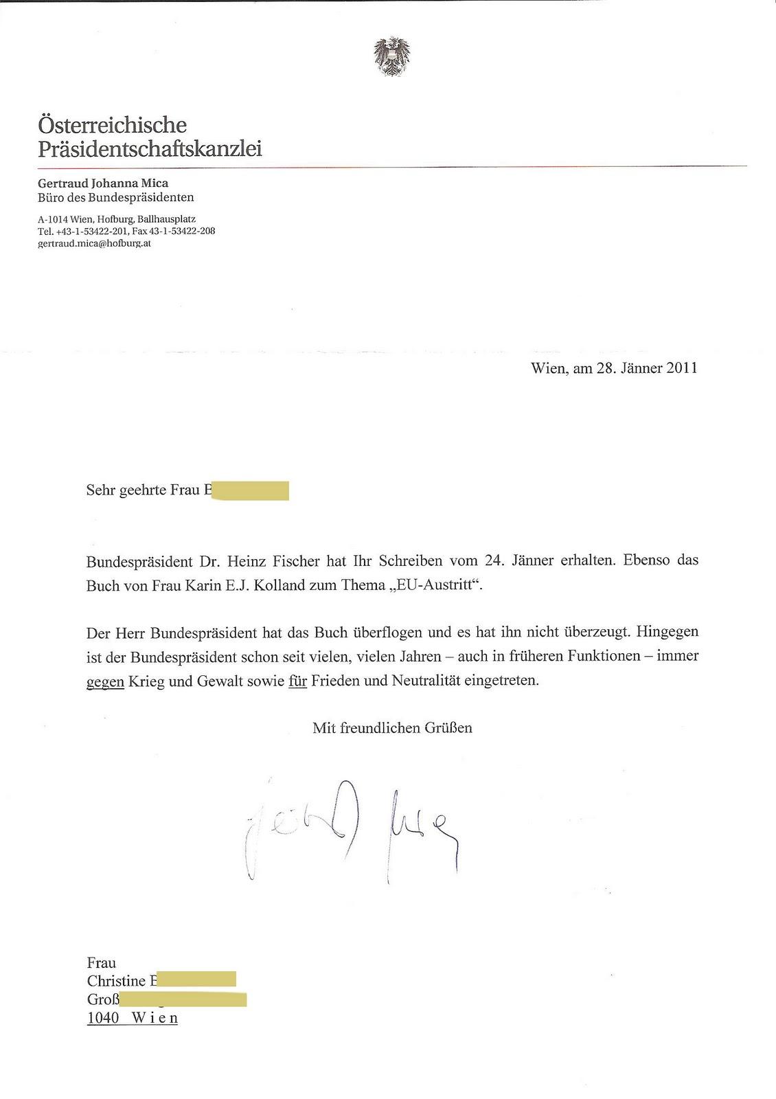 Karin E. J. Kolland Freiheit-Friede-Selbstbestimmtheit: Bundespräsidentschaftskanzlei ...