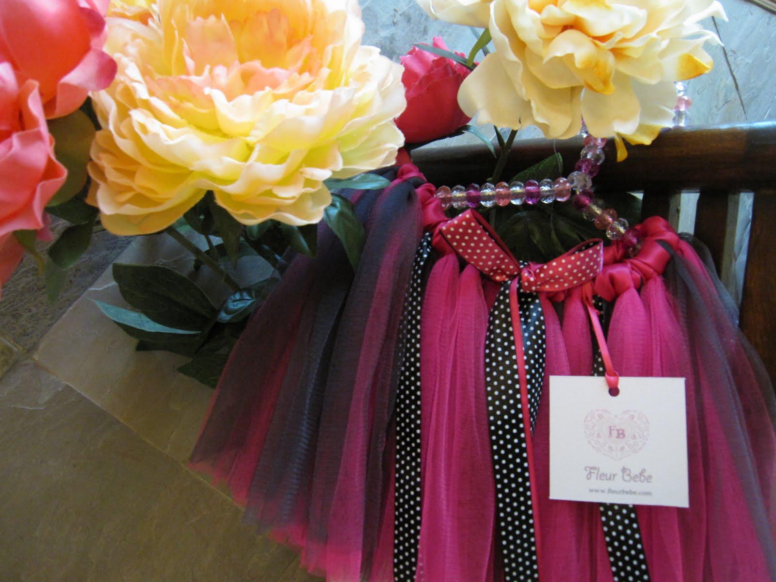Fleur Bebe Hot Pink On Black And White Polka Dot Ribbon Tutu