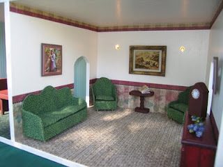Dollhouse decorating a newly completed dollhouse for you to look at for Maroon and green living room
