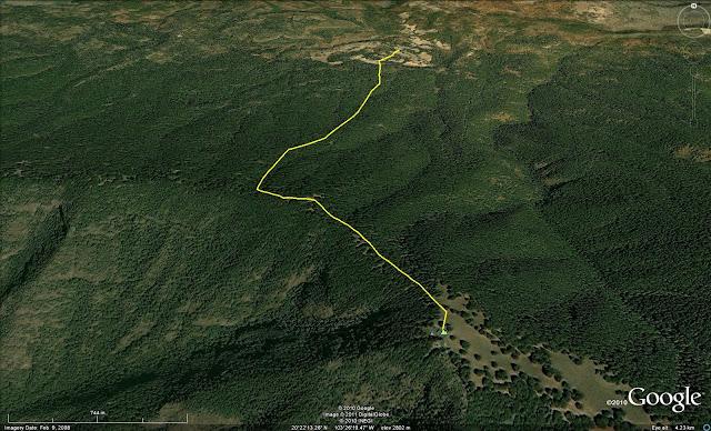 Ruta aproximada de descenso de Cerro Viejo - enero 2011